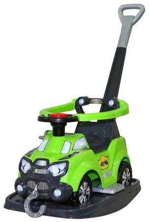 Каталка-машинка Molto Sokol пластик от 8 месяцев с ручкой для родителей зеленый 48325
