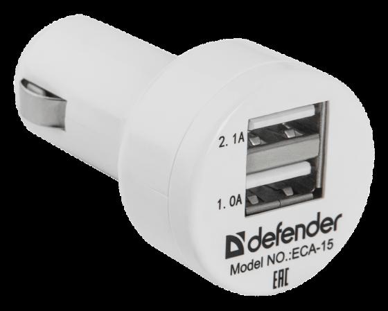 Автомобильное зарядное устройство Defender ECA-15 2.1/1А 2 х USB белый цена и фото