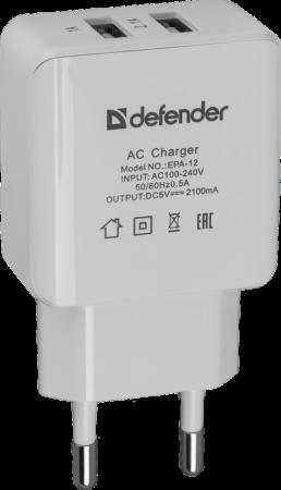 Сетевое зарядное устройство Defender EPA-12 2.1A 2 х USB белый 83530 цена и фото