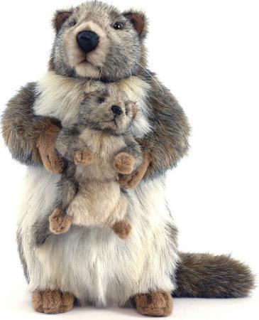 Мягкая игрушка Hansa Сурок с детенышем 35 см серый искусственный мех 4162 мягкие игрушки hansa сурок с детенышем 35 см