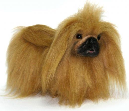 Мягкая игрушка собака Hansa Пекинес 27 см коричневый искусственный мех 4137 hansa 4137 пекинес 27 см