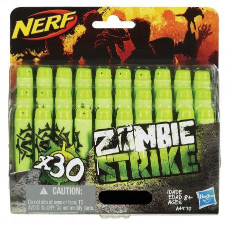Набор стрел для бластеров Nerf Зомби Страйк 30 шт для мальчика зеленый черный A4570 набор стрел для бластеров nerf аккустрайк оранжевый
