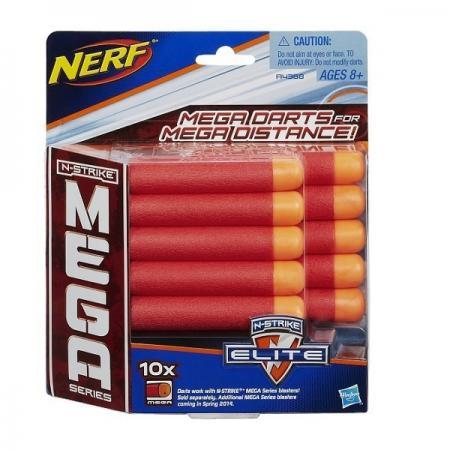 Набор стрел для бластеров Nerf МЕГА 10 шт для мальчика красный оранжевый A4368 nerf аксессуар для бластеров лазерный прицел