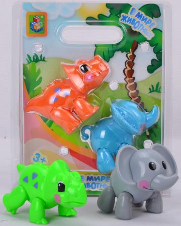 Игровой набор 1Toy В мире животных Слон и носорог/динозавр 2 предмета Т57439 в ассортименте чайный набор 1toy я сама металлическая 9438 в ассортименте