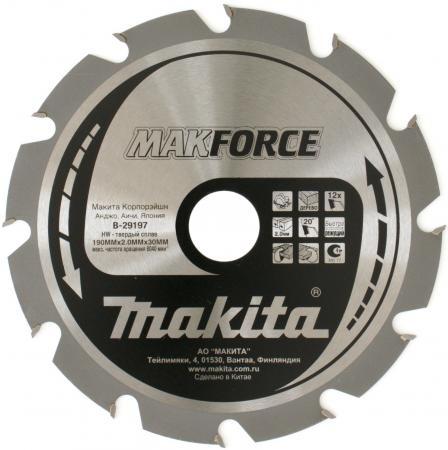 Пильный диск Makita 190х30х2мм 12зуб по дереву B-29197 диск пильный irwin pro по дереву 235x40tx30 25 16