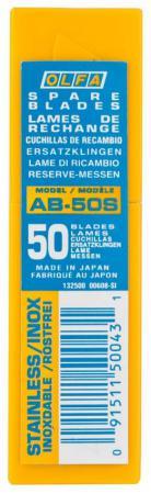 Лезвия Olfa с сегментированным лезвием из нержавеющей стали 9х80х0,38мм 3 сегментов 50шт OL-AB-50S цена
