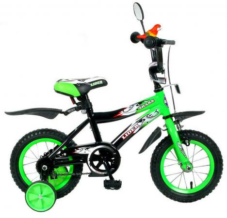 "Велосипед двухколёсный Velolider LIDER SHARK 12"" 12А-1287GN зеленый/черный"