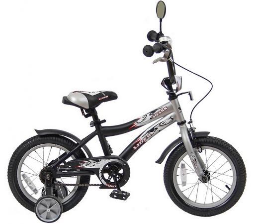 "Велосипед двухколёсный Velolider LIDER SHARK 14"" 14A-1487GR серый/черный"
