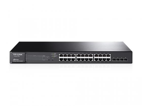 Коммутатор TP-LINK T1600G-28PS управляемый 24 порта 10/100/1000Mbps 24x8W PoE 4xSFP коммутатор tp link t1500 28pct smart коммутатор poe на 24 порта 10 100 мбит с и 4 гигабитных порта