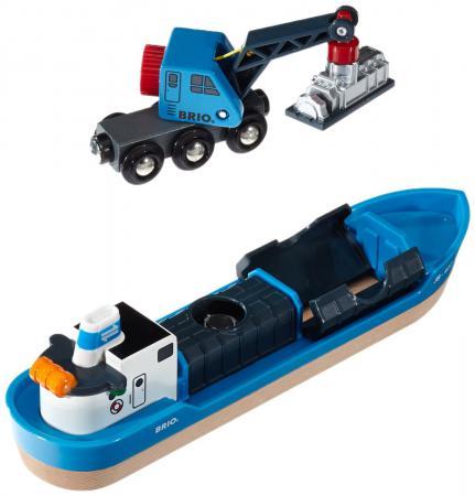 Игровой набор Brio с кораблем, краном-погрузчиком и грузом 33534 brio поезд 33595
