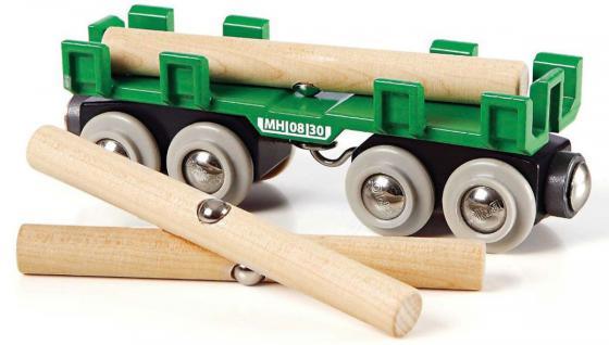 Вагон Brio с брёвнами железные дороги brio brio вагон с коровой 8 6х3 4х4 8см блист