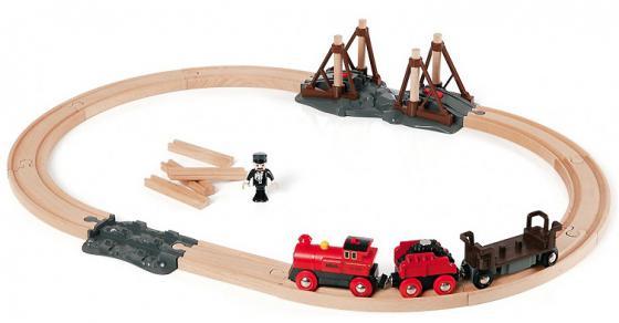 Игровой набор ж/д Brio с паровозом и строящимся мостом 33030 погрузчик ж д brio с подъемником и фигуркой