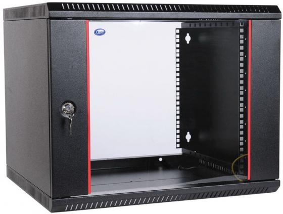 Шкаф настенный 9U ЦМО ШРН-Э-9.500-9005 600x520mm дверь стекло черный цена и фото