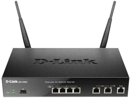 Беспроводной маршрутизатор D-Link DSR-500AC/RU/A1A 802.11aс 1300Mbps 5 ГГц 2.4 ГГц 4xLAN USB черный беспроводной маршрутизатор d link dir 878 802 11aс 1900mbps 2 4 ггц 5 ггц 4xlan черный