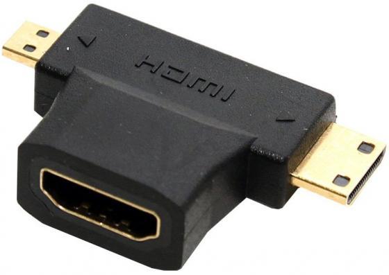 Фото - Переходник HDMI(F)-mini + micro HDMI (M) 5bites HH1805FM-T переходник hdmi f mini hdmi m 5bites hh1805fm mini