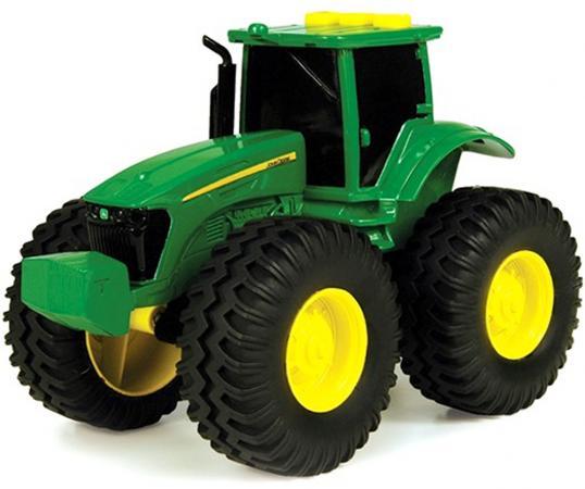 Трактор Tomy John Deere 19 см зеленый с большими колесами, звук, свет машины tomy трактор john deere 6210r