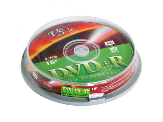 Диски DVD+R VS 4.7Gb 16x CakeBox10шт 20533 диски cd dvd sony dvd r 16x dvd dvd