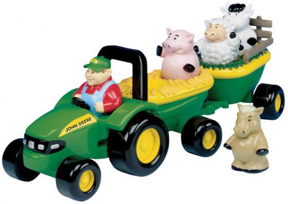 Набор Tomy трактор John Deere с животными разноцветный трактор tomy john deere зеленый 19 см с большими колесами звук свет