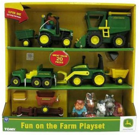 Игровой набор Tomy John Deere Веселая Ферма 20 предметов ТО42945 машины tomy трактор john deere monster treads с большими резиновыми колесами