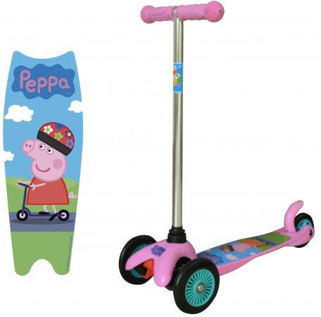 Самокат трехколёсный 1TOY Peppa, управляется наклоном розовый 8887856576178 самокат трехколёсный 1toy свинка пеппа 5 4 розовый