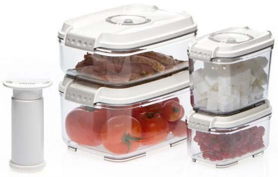 Набор контейнеров для вакуумного упаковщика Status VAC-REC-Smaller белый status vac baby контейнеры для вакуумного упаковщика 4 шт