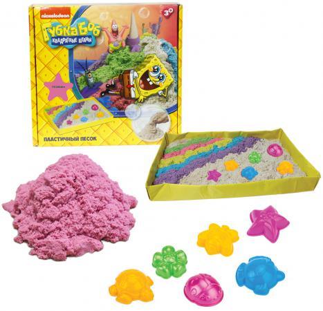 1toy Губка Боб, космический песок, розовый,  кг, набор песочница  формочки Т58200