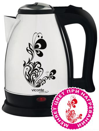 Чайник Viconte VC-3258 2000 Вт 2 л металл белый чёрный рисунок кофемолка viconte vc 3104 250 вт белый