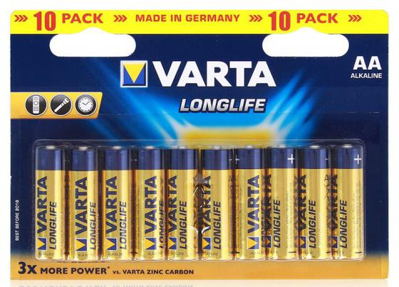 Батарейки Varta Longlife AA 10 шт varta longlife aa big box 24
