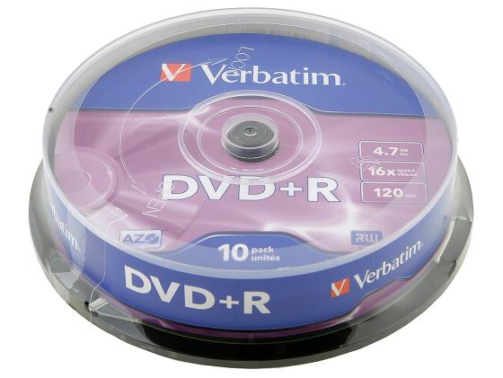 Диски DVD+R Verbatim 16x 4.7Gb CakeBox 10шт Azo+ 43498 диски cd dvd sony dvd r 16x dvd dvd
