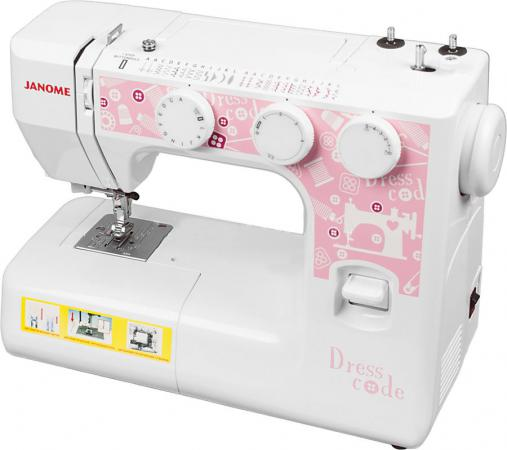 Швейная машина Janome Dresscode белый электромеханическая швейная машина janome dresscode 206689