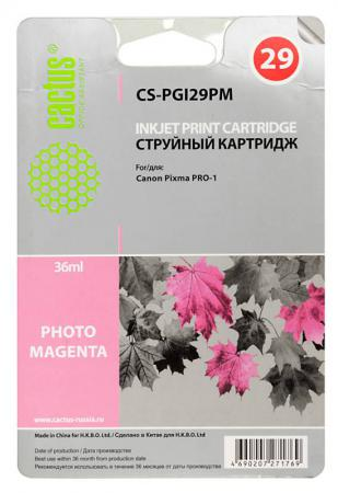 Картридж Cactus CS-PGI29PM для Canon Pixma Pro-1 фото пурпурный cactus cs pgi29r red картридж струйный для canon pixma pro 1