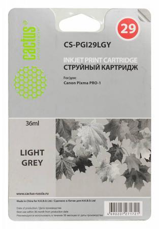 Картридж Cactus CS-PGI29LGY для Canon Pixma Pro-1 серый картридж совместимый для струйных принтеров cactus cs pgi29y желтый для canon pixma pro 1 36мл cs pgi29y