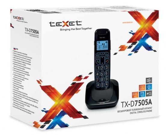 Радиотелефон DECT Texet TX-D7505A черный телефон проводной texet tx 201 белый