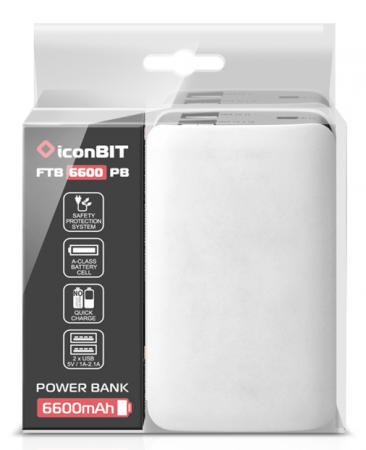 Портативное зарядное устройство IconBIT FTB6600PB 6600mAh белый schoffel swift shirt