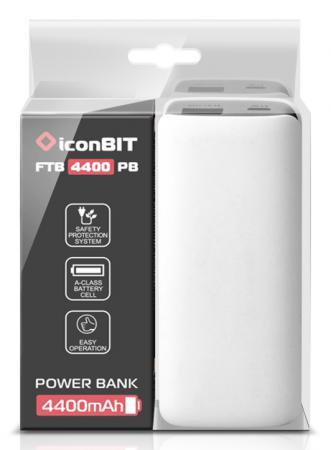 Портативное зарядное устройство IconBIT FTB4400PB 4400mAh белый