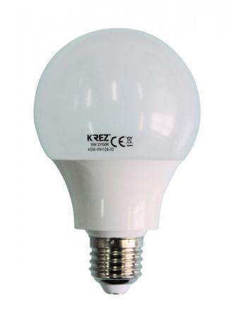 Лампа светодиодная шар KREZ E27 9W 2700K 4GM-WH126-02
