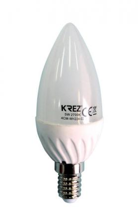 Лампа светодиодная свеча KREZ E14 5W 2700K 4CM-WH224-02