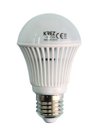 Лампа светодиодная груша KREZ E27 7W 2700K 4BM-WH125-01