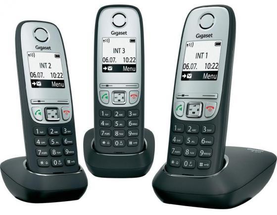 купить Радиотелефон DECT Gigaset A415 Trio серебристо-черный по цене 4730 рублей