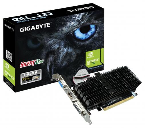 Видеокарта 1024Mb Gigabyte GT710 PCI-E GDDR3 64bit HDMI DVI VGA HDCP GV-N710SL-1GL Retail видеокарта asus geforce gtx 1060 1620mhz pci e 3 0 6144mb 8208mhz 192 bit dvi hdmi hdcp rog strix gtx1060 o6g gaming