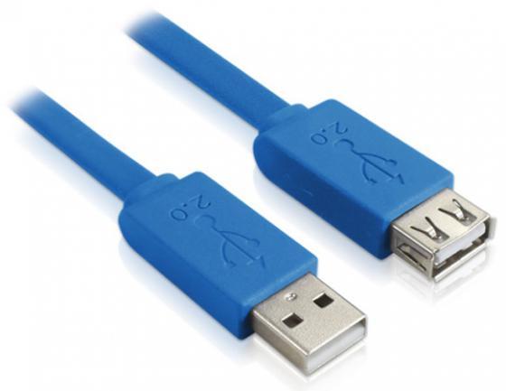 Кабель удлинительный USB 2.0 AM-AF 3.0м Greenconnect плоский синий GCR-UEC2M2-BD-3.0m greenconnect gcr uec2m2 bd кабель usb 2 м