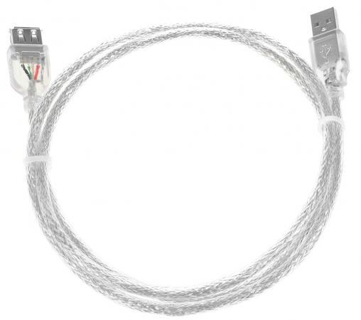 Кабель удлинительный USB 2.0 AM-AF 1.8м Greenconnect двойное экранирование прозрачный GCR-UEC2M-BD2S-1.8m кабель удлинительный usb 2 0 am af 1 0м greenconnect витой экранированный черный gc uec2m3 1m