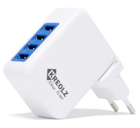 все цены на Сетевое зарядное устройство Kreolz TJ-131 4A 4xUSB белый онлайн