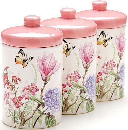 Банка для сыпучих Loraine LR-25633 400мл белый с рисунком бабочки набор банок для сыпучих продуктов loraine бабочки 6 предметов 25633