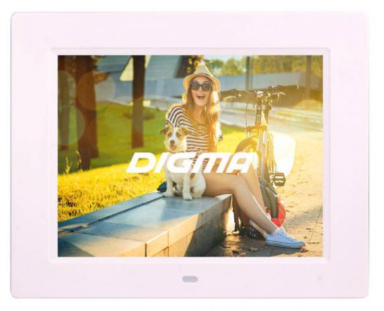 Цифровая фоторамка Digma PF-833 белый 8 1024x768 пластик digma pf 833
