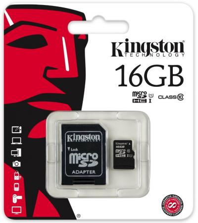 цена на Карта памяти Micro SDHC 16GB Class 10 Kingston SDCIT/16GB + адаптер SD