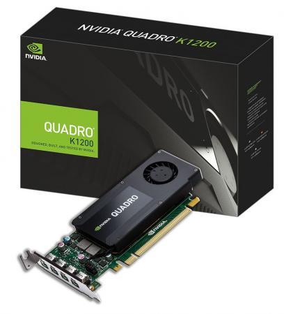 Видеокарта PNY Quadro K1200 NVIDIA Quadro K1200 (VCQK1200DP-PB) PCI-E 4096Mb GDDR5 128 Bit Retail видеокарта pny quadro p400 vcqp400dvi pb pci e 2048mb 64 bit retail