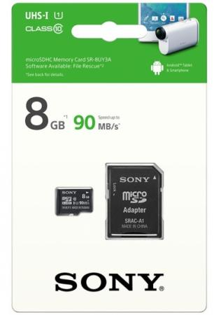 Карта памяти Micro SDHC 8Gb Class 10 Sony SR8UY3AT + адаптер SD карта памяти micro sdhc sony sr8nyat 8gb