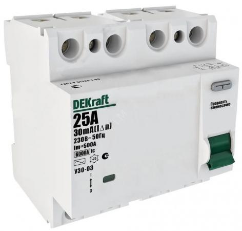УЗО Schneider Electric 4P 32А 100мА AC УЗО-03 6кА DEKraft 14086DEK кросс модуль на din рейку schneider electric dekraft 32018dek шн103 4 11 125