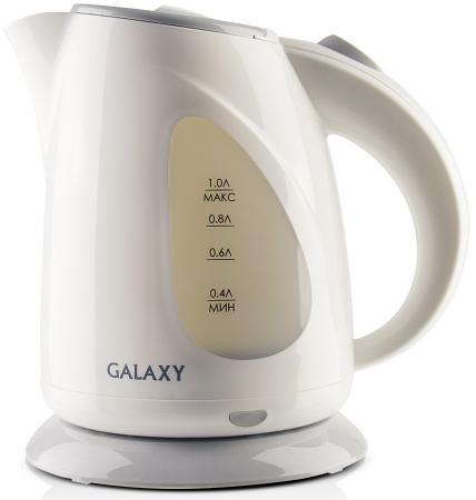 Чайник GALAXY GL0213 900 Вт 1 л пластик серый белый чайник galaxy gl0504 1400 вт белый 1 2 л керамика